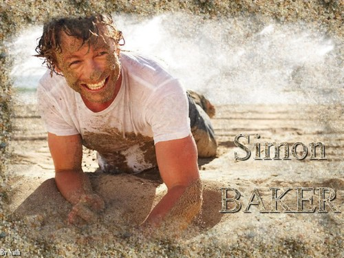 साइमन बेकर वॉलपेपर probably with a mulch, a cassava, and a horse trail titled SIMON BAKER