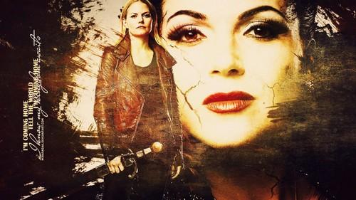 Regina et Emma fond d'écran probably with a portrait called cygne Queen