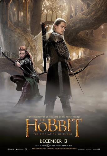 호빗 바탕화면 probably with a 라이플 총병, 라이플 맨, 라이플 총 병 and a 음악회, 콘서트 called The Hobbit: The Desolation of Smaug International Poster- Legolas and Tauriel