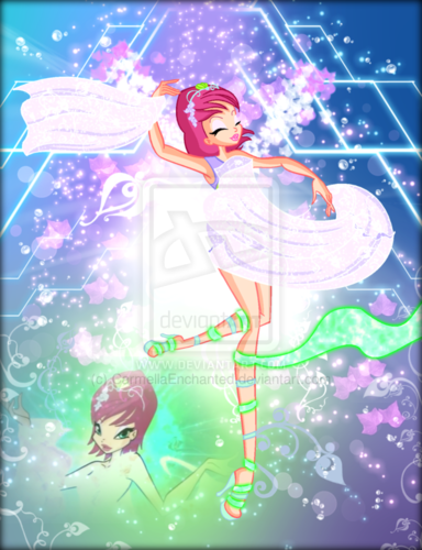 o clube das winx wallpaper possibly with a sign titled Winx in Transformation: Harmonix (Tecna)