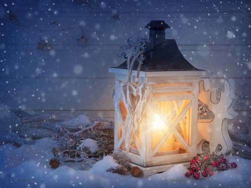 Winter wallpaper with a candle called Winter Wallpaper