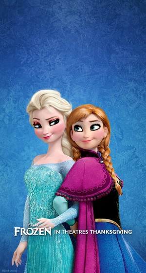 anna and elsa's clinging look