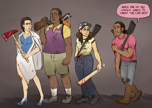 left 4 dead 2 wallpaper containing anime called Genderbent Survivors