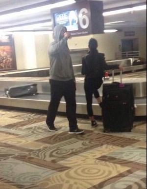 AJ Lee and CM Punk at the airport