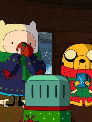 Finn jake and bmo havin some hot koko in the treehouse