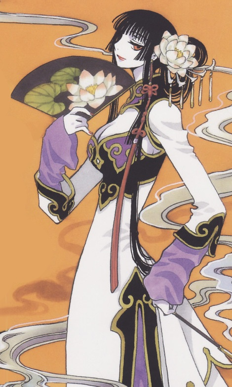 Yuko holding a fan and wearing a Chinese-style dress