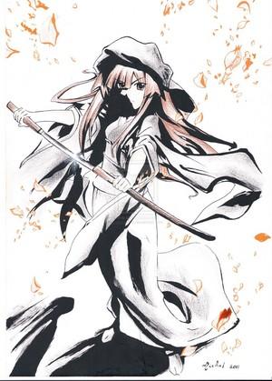 Sun Seto wielding her sword