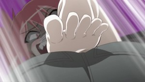 Lunar hitting Nagasumi in the groin/crotch area with her foot