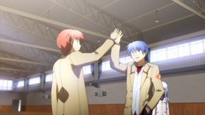 Otonashi and Hinata high-fiving each other