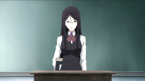 Anime wallpaper possibly with a business suit, a well dressed person, and a lectern entitled Anime High School Teacher