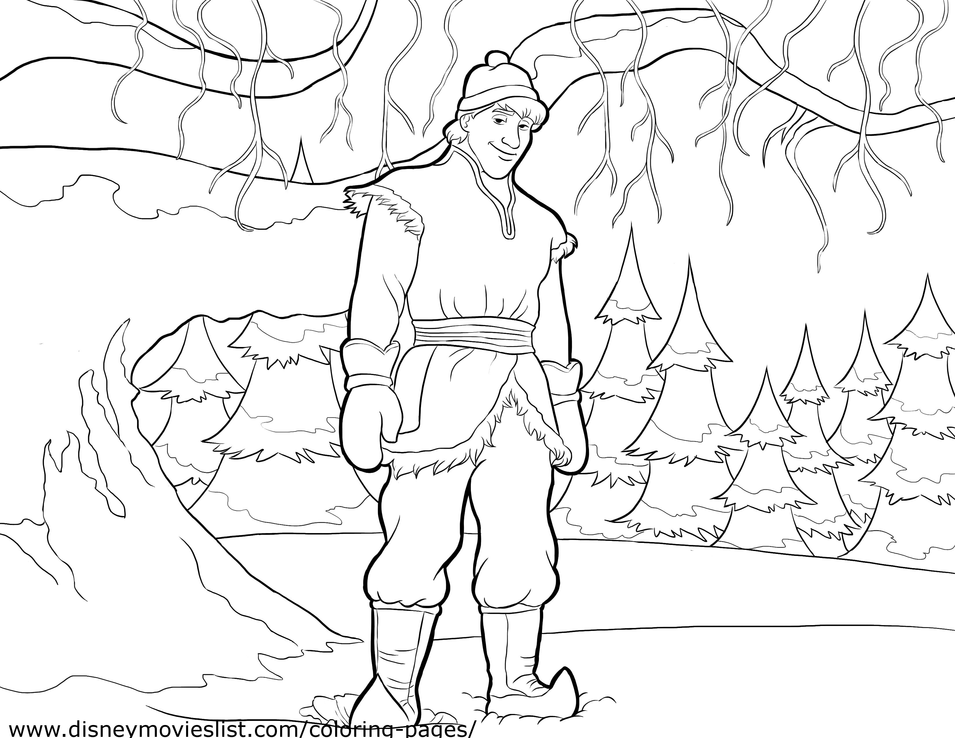 Free Frozen Coloring Pages Kristoff : Kristoff coloring page anna and photo