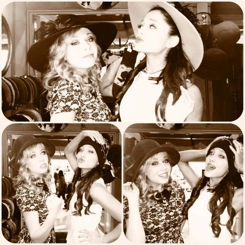 Ariana Grande karatasi la kupamba ukuta with a bridesmaid and a bouquet called Jennette and Ariana