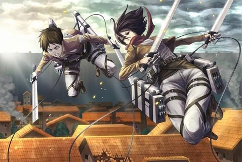Attack on Titan karatasi la kupamba ukuta probably containing anime titled Eren and Mikasa