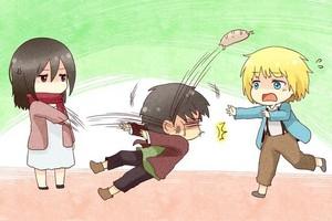 Mikasa,eren and armin^-^