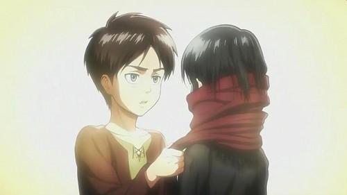 Attack on Titan karatasi la kupamba ukuta called Eren and Mikasa