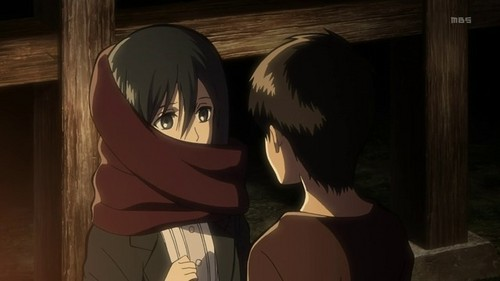Attack on Titan karatasi la kupamba ukuta entitled Mikasa and Eren