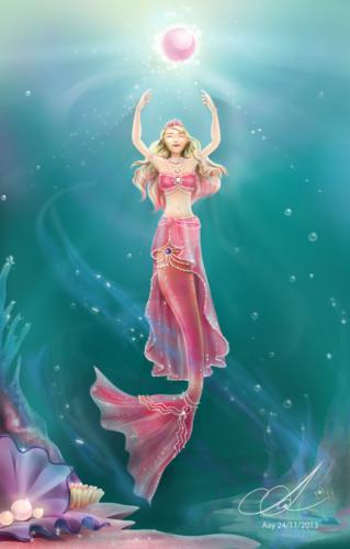 Sinema za Barbie karatasi la kupamba ukuta titled The Pearl Princess - shabiki art
