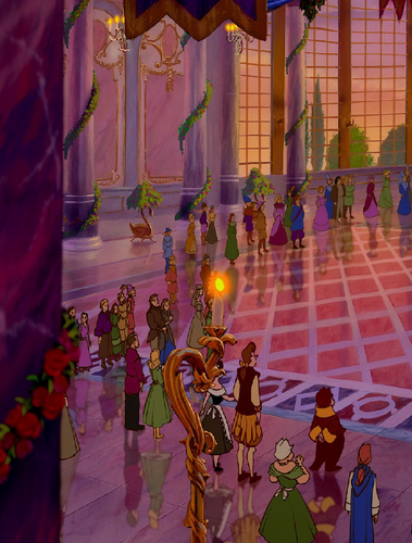 Beauty and the Beast wallpaper probably with a parasol, a fountain, and a street called Human Wardrobe?