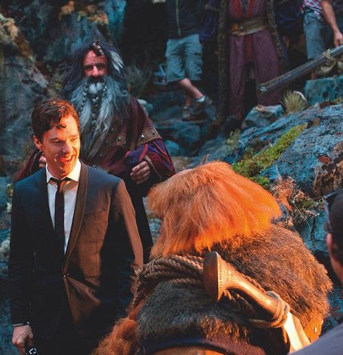 Benedict on set of The Hobbit