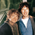 Benedict and Martin on set of The Hobbit