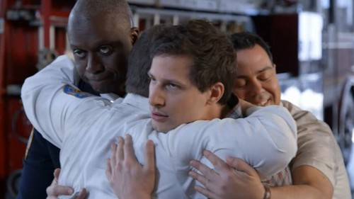 Brooklyn Nine-Nine karatasi la kupamba ukuta possibly containing a milk, a neonate, and a portrait called A Male Hug