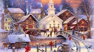 क्रिस्मस Town Scene