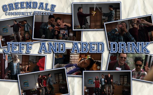 Community wallpaper with anime titled Abed and Jeff get drunk