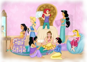 Princesses having a sleepover