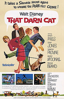 "Movie Poster For 1965 disney Film, ""That Darn Cat"""