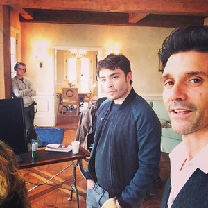 Westwick with Frank Grillo on set of A Conspiracy on Jekyll Island in New Buffalo, MI