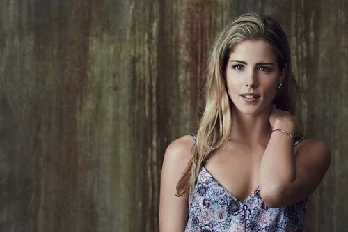 Emily Bett Rickards wallpaper probably with a bustier, attractiveness, and a chemise titled Emily cute