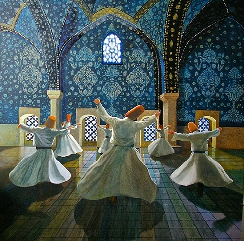 Fine Art Hintergrund probably with a polonäse, polonaise and a kirtle titled Whirling Dervishes