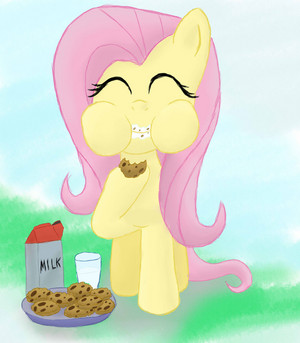 Fluttershy Eating 쿠키 and 우유