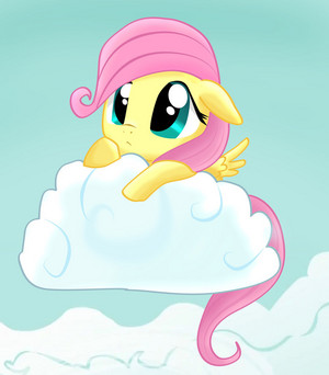 Fluttershy Hiding Behind a nuage