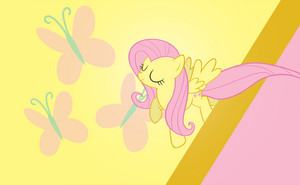 Fluttershy Flying 바탕화면