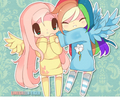 Fluttershy and regenbogen Dash