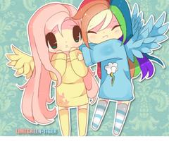 Fluttershy and pelangi, rainbow Dash
