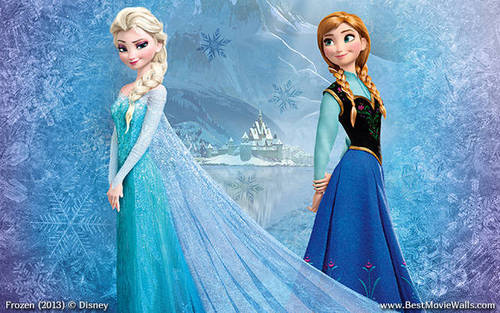 Frozen wallpaper probably containing a dinner dress and a gown titled Elsa and Anna