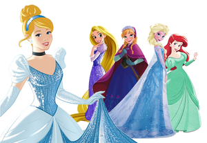 Anna and Elsa with Cinderella, Rapuznel and Ariel