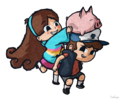Dipper,Mabel, and Waddles
