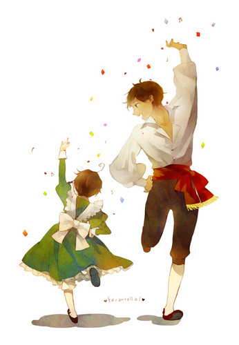 Hetalia Spain fond d'écran with a japanese abricot entitled Spain and Little Romano