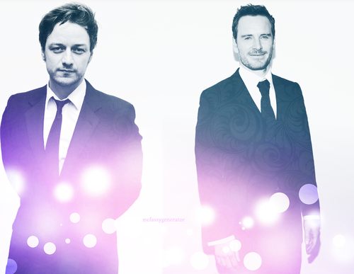 James McAvoy and Michael Fassbender वॉलपेपर containing a business suit, a well dressed person, and a suit titled James and Michael