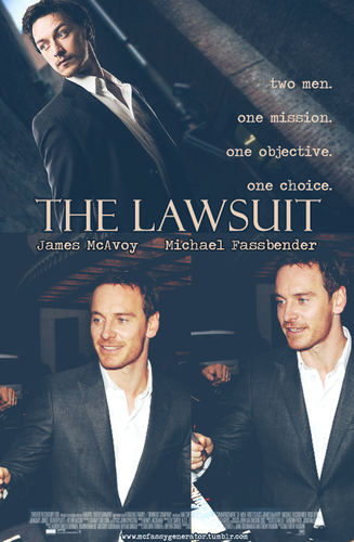 James McAvoy and Michael Fassbender fond d'écran containing a business suit, a suit, and a dress suit entitled The Lawsuit - McFassy Movie