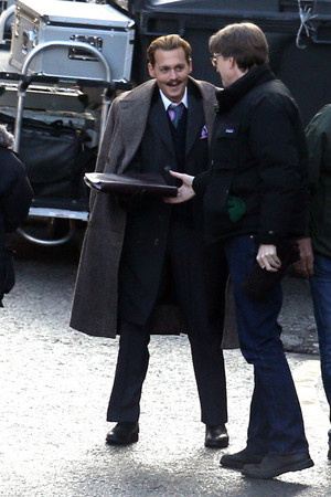 "Johnny filming ""Mortdecai"""