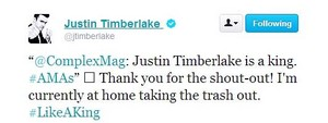 JT's funny twitter answer after the AMAs 2013