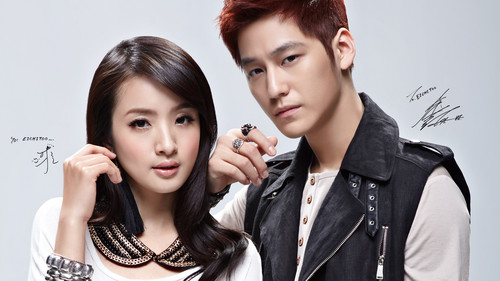 Ким Бом Обои possibly containing a well dressed person and a portrait titled Kim Bum and Ariel Lin for Echitoo
