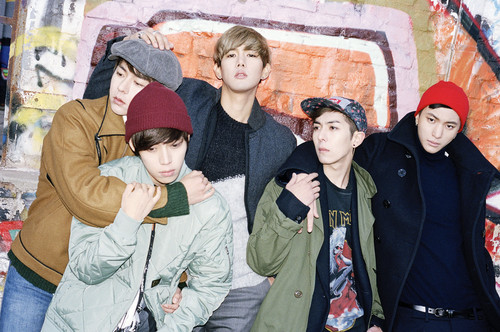 Kpop wallpaper probably with a street, a sign, and an outerwear called HISTORY – Blue Spring