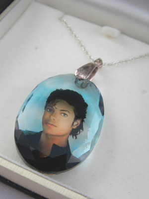 A Vintage Michael Jackson Crystal Pendant Necklace