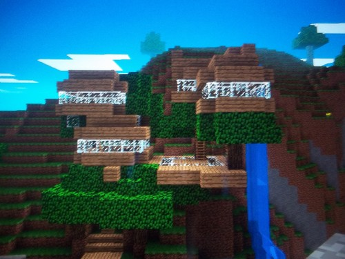 Minecrat Hintergrund with a business district titled Minecrat baum house front