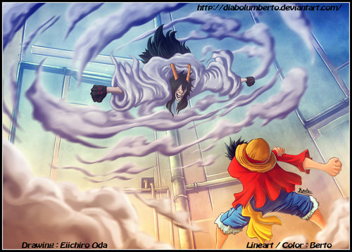 Monkey D. Luffy karatasi la kupamba ukuta possibly containing anime titled *Luffy v/s Caesar*